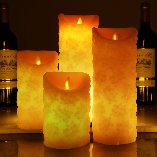 Cherry Blossom Shape Color Changing Led Candle With Remote Control Velas Scented Bougie Flameless Candles Wedding