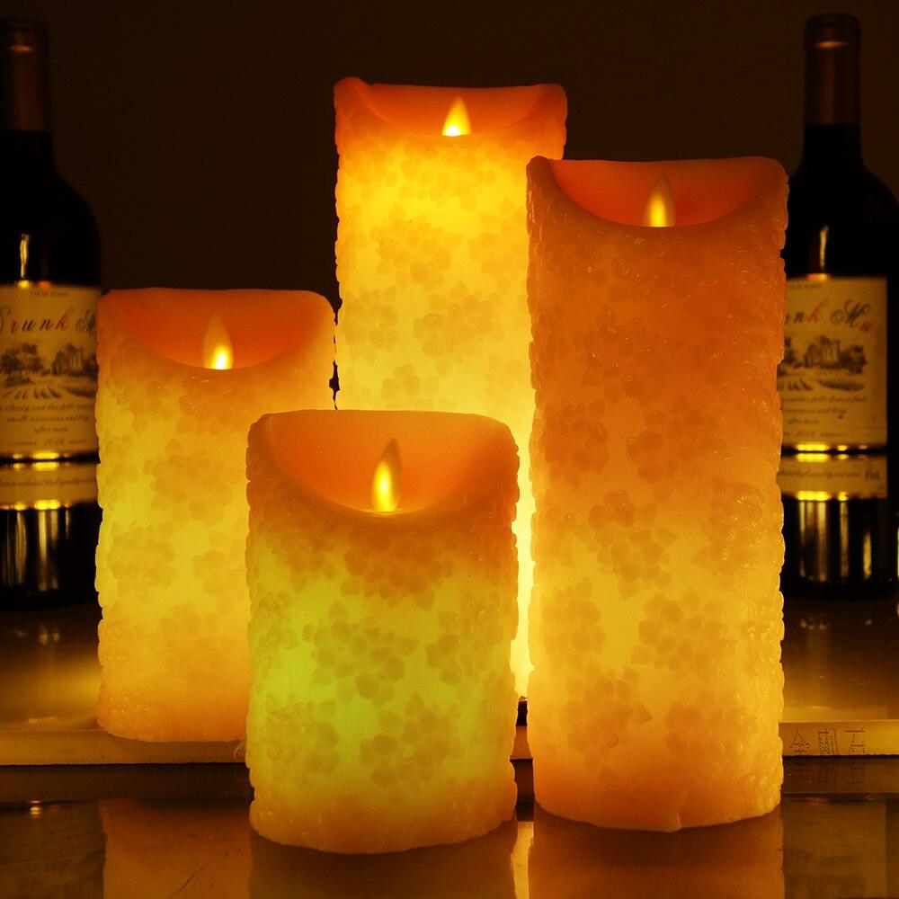 Flor de Cerezo forma Color cambiar LED vela con control remoto velas perfumada vela sin llama velas decoración de la boda Lellen marfil parpadeo velas LED con control remoto perfumada vela de la batería operado de velas de Casa decoración de la boda
