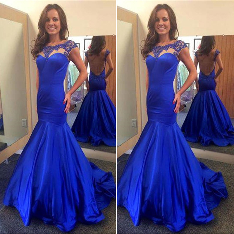 Royal Blue Mermaid   Prom     Dress   Gorgeous Beaded O-neck Cap Sleeve Backless Long   Prom     Dresses   2019 With Sweep Train