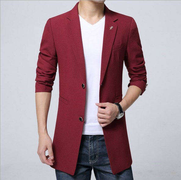 Plus Size Menu0026#39;s Fashion Casual Long Jackets Blazers Royal Blue Black Red Purple Blazer Men ...