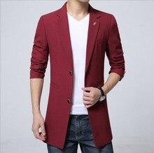 Плюс Размер мужской Моды Случайные Длинные Куртки Пиджаки Королевский Синий черный Красный Фиолетовый Пиджак Мужчины Однобортный Slim Fit Blazer Homme