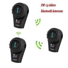 2016 Version 3 Riders 500M Intercomunicador Bluetooth Moto +FM with BT Interphone Bluetooth Motorcycle Helmet Intercom Headset
