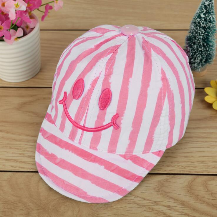 95049af2af0 1 Piece Cute Autumn Newborn Baby Hat Girls Boys Smile Striped Baseball Cap  Infant Summer Cotton Unisex Sun-in Hats   Caps from Mother   Kids on ...