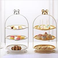 luxury 3 layers silver/gold metal cake stand cake tray cup cake stand cake holder for wedding deocration DGP067