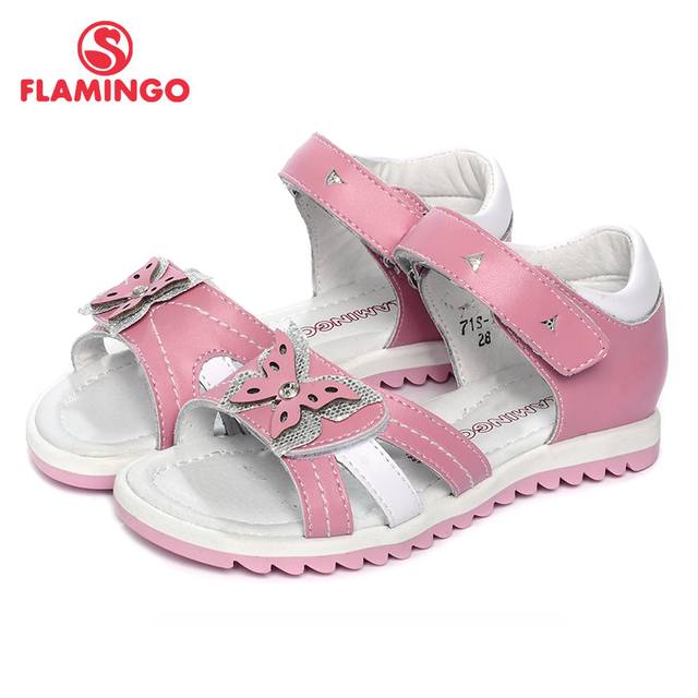 Flamingo 2017 новое прибытие весенние и летние дети мода кожа розовая бабочка украшения квартира с сандалии для девочек 71s-jc-0174