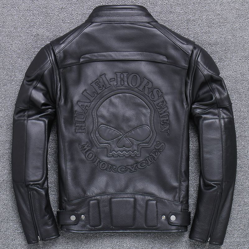 Mens Cow Leather Coats Skull Pattern Genuine Leather Jacket Automotive Biker Mans Real Leather Jacket Reflective Streetwear A787(China)