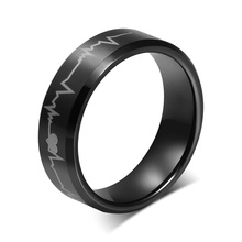Free Custom Engraving 8mm Tungsten Carbide Heartbeat Design Wedding Band Engagement Rings