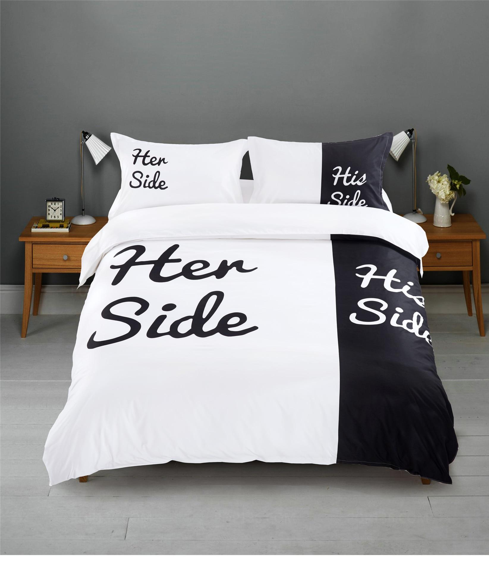 Letter Print Duvet Cover Set King Queen Size Bed Sheet Bedding Set Sexy Herside Hisside Black White Bedroom Bed Linen