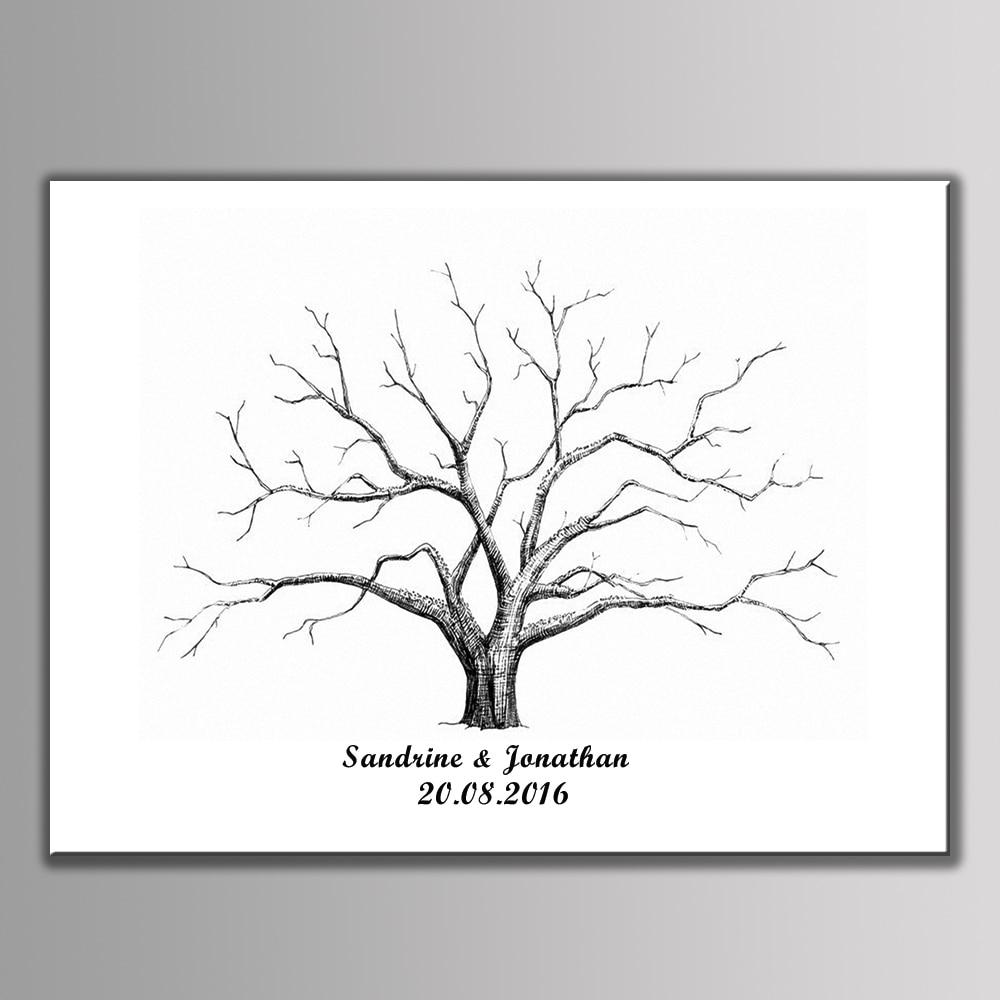 Custom Wedding Accessories Savannah Live Oak Thumbprint: LARGE HEART OAK Thumbprint Guest Book Tree Birds Not T