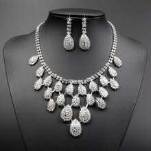Elegant Silver Color rhinestone crystal bridal statement necklace and earring set wedding dress accessory jewelry XL031