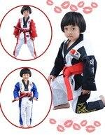 2017 hot sale wholesale WTF Taekwondo Uniform for Kids Adult V Neck Taekwondo Dobok with long sleeve TKD Suit clothes