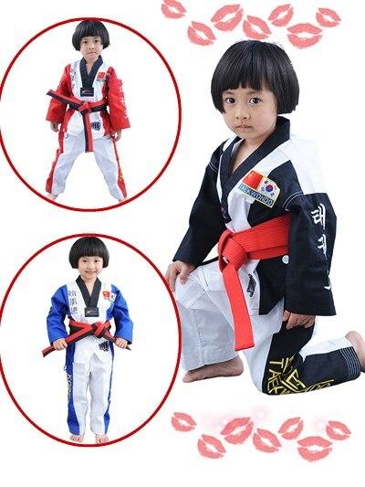 2017 offre spéciale en gros WTF Taekwondo uniforme pour enfants adulte v-cou Taekwondo Dobok avec manches longues TKD costume vêtements