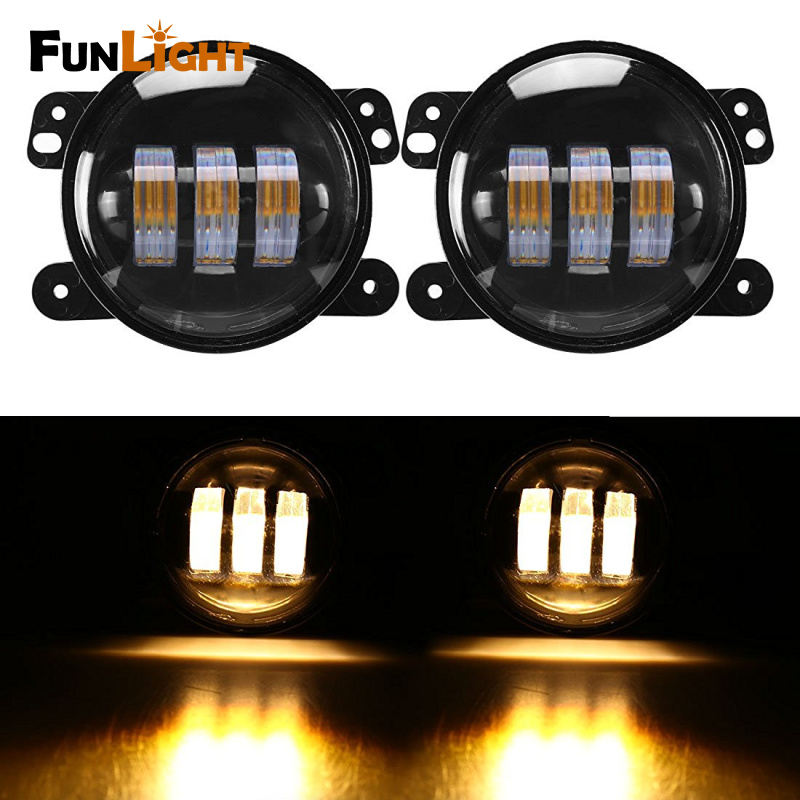 4 Inch Amber Yellow 60W 4800LM Fog Lights for Jeep Wrangler JK TJ LJ Tractor Boat Fog Off Road Lamps 4 inch 60w led fog lights white drl blue turn signal halo ring for jeep wrangler 97 17 jk tj lj off road fog lamps