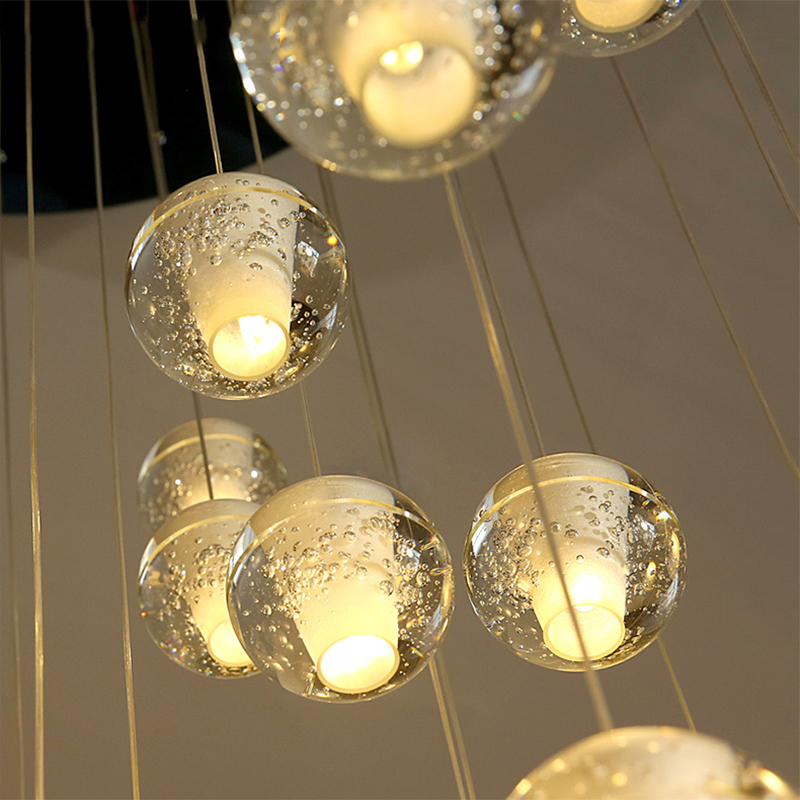 Modern LED Pendant Lights Simple Meteor Crystal Glass Ball Pendant Lamps Lighting Personality Staircase Hanging Lamps Kitchen in Pendant Lights from Lights Lighting