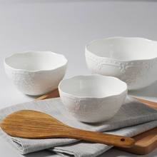5 inch relief bowls European style lace pure white rice breakfast ceramic creative Western dishes.