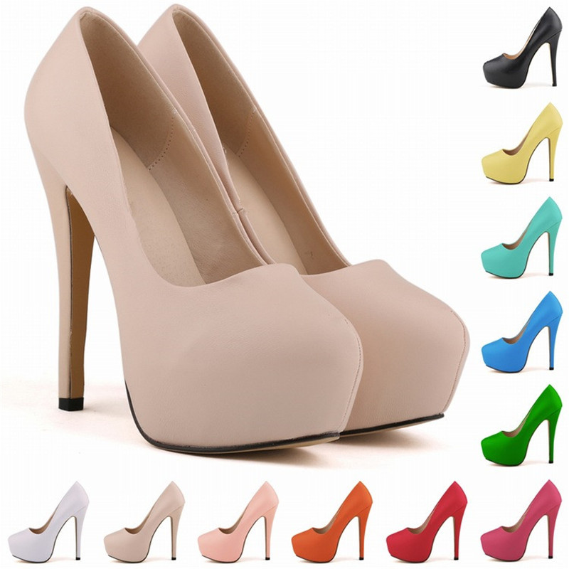 40 Colors 5 Inches Women Spring Autumn Sexy Black White Beige Basic Round Toe Platform High Heel Shoes Ladies Pumps for Woman plus size 6 3 inches women spring autumn sexy black red white ankle strap round toe platform super high heels shoes pumps woman
