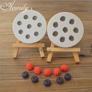 Aomily 8 отверстий 3D голубика в форме малины Силиконовое Мыло Конфеты помадка торт шоколадная кухонная форма шоколадное печенье DIY Плесень