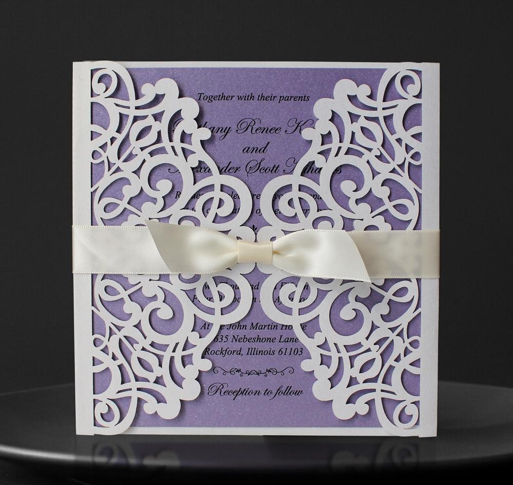Belo in vijolično vabilo za poroko - komplet - Prazniki in zabave
