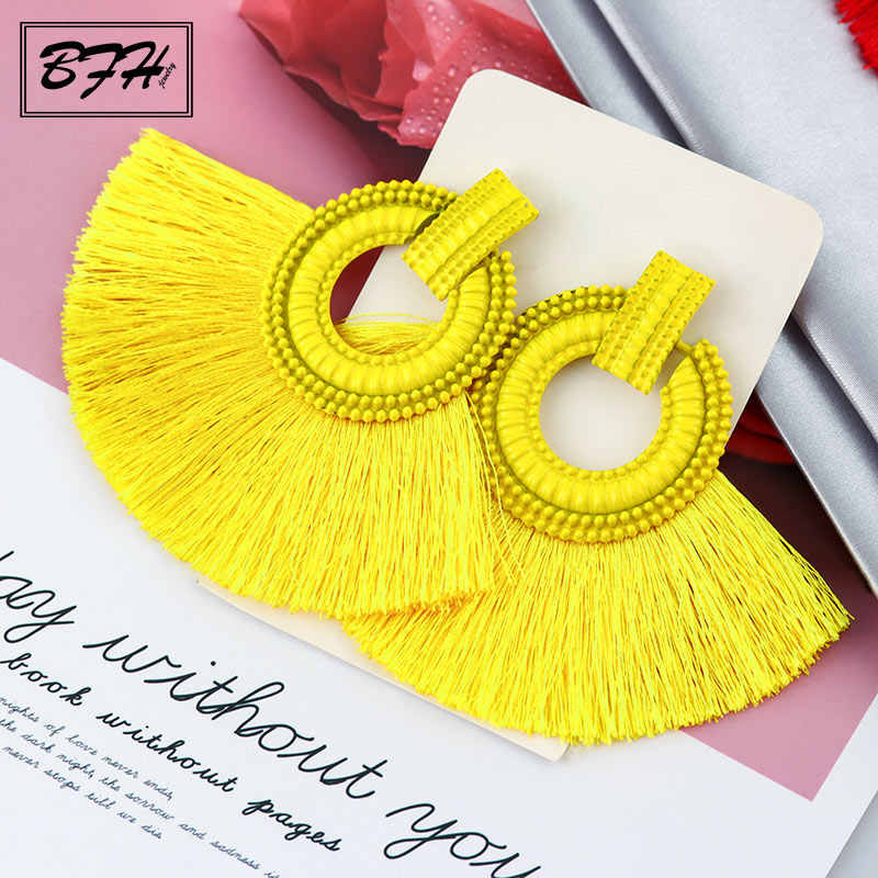 BFH Bohemian Tassel Dangle Drop Earrings for Women Fringe Handmade Brincos Fashion Vintage Woman Large Big Earring Jewelry