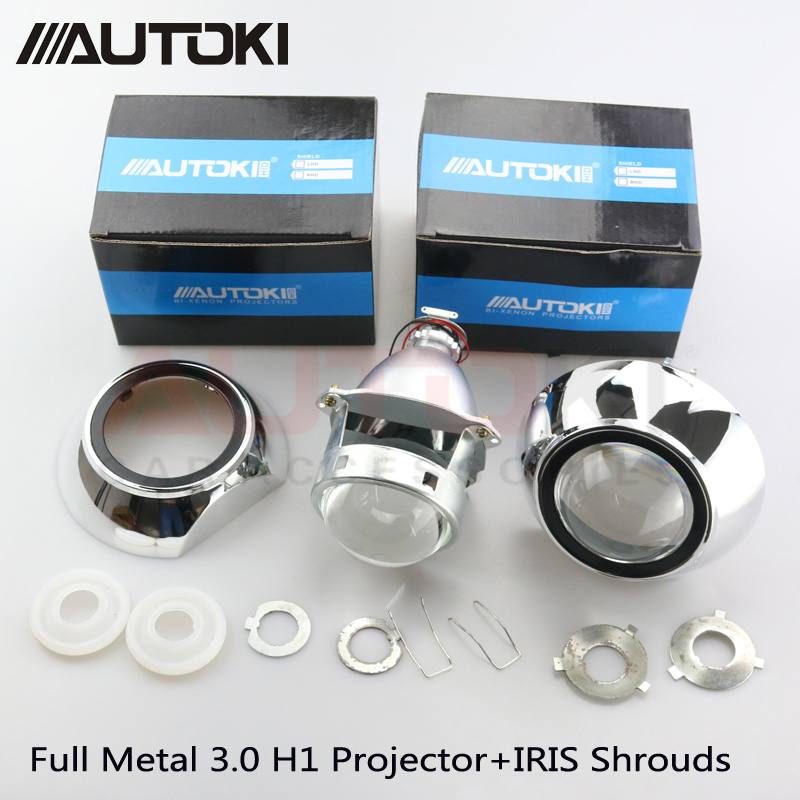 Autoki 3 0 Car Styling Projector Lens Metal H1 Projector Xenon Lens Iris Shrouds for VW