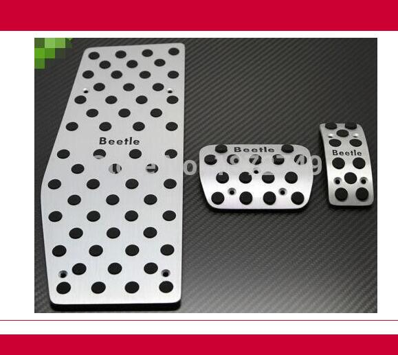 Fit For VW Beetle 1999 - 2010 Aluminum Foot Rest Fuel Brake AT Pad pedals Plate brand new 3pcs aluminium non slip foot rest fuel gas brake pedal cover for vw polo at 2010 2016