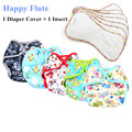 Happy Flute Diaper Cover Cloth Diaper, Reusable Breathable Diaper Covers, Double Gussets Fit 3-15kg Baby
