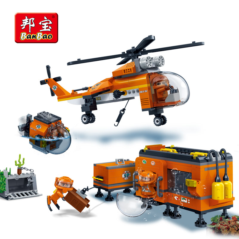 BanBao Sea Exploration Helicopter Bricks Educational Building Blocks Toys Model 7402 For Kids Children Compatible With legoe sermoido 02012 774pcs city series deep sea exploration vessel children educational building blocks bricks toys model gift 60095