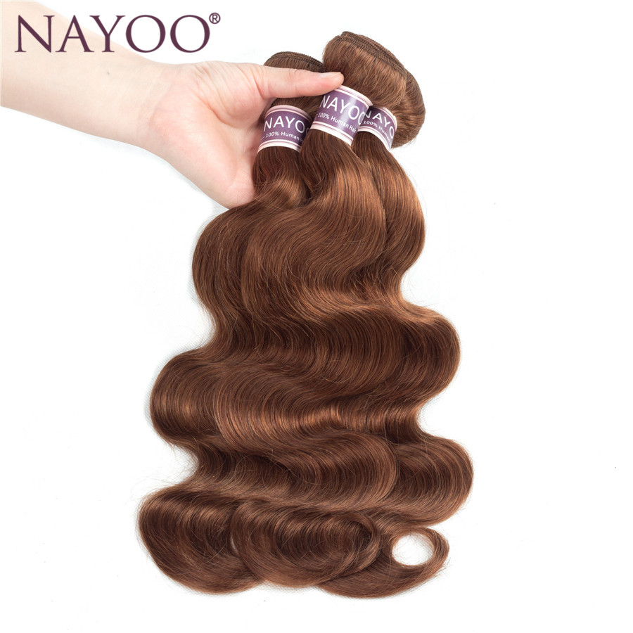 NAYOO Hair Products Brazilian Body Wave Human Hair Extensions 10 To 24 Inch One Piece Non-Remy Hair Weaving #30 Color