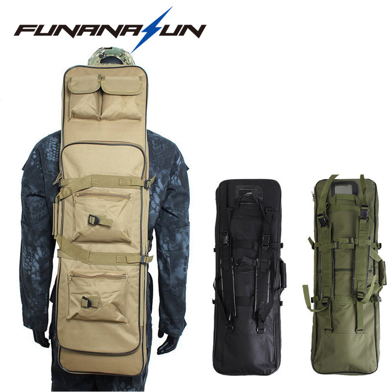 33.5 Tactical Double Rifle Bag Military Shotgun Storage Backpack With MOLLE Pouches Hand Carry Integrated Pistol Case Magazine 2016 tourbon design tactical handgun magazine carry bag canvas with pu pistol case zippered black pouch wholesale