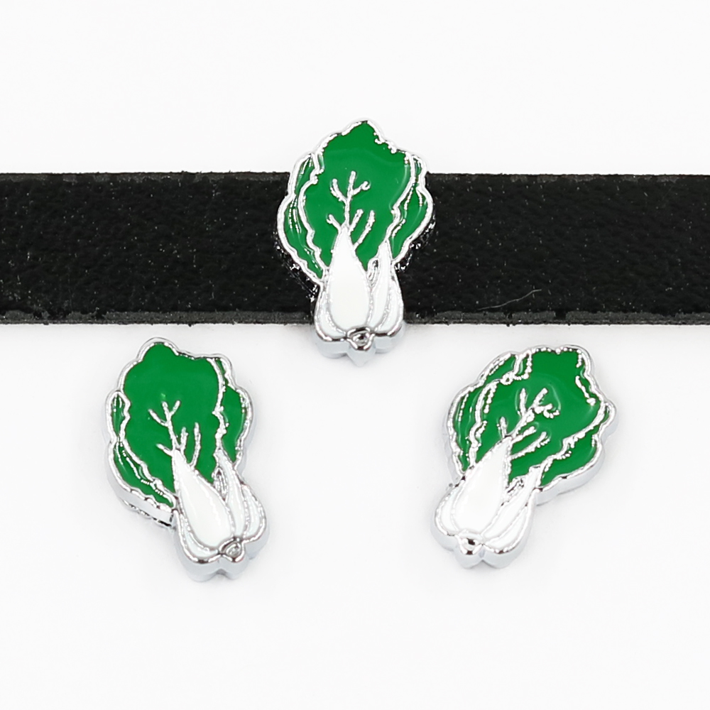 New Arrival Cabbage 10pcs 8mm Slide Charms Jewelry Making Fit Wristbands Belts Bracelets Key Chain DIY Christmas Gifts SL527