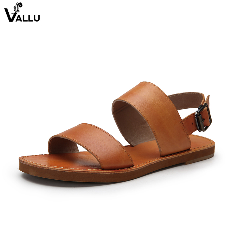 406607a384a9 Cool Handmade Comfortable Shoes Female Genuine Flat Sandals Sandals Lady  Leather For Women Two Summer Simple ...