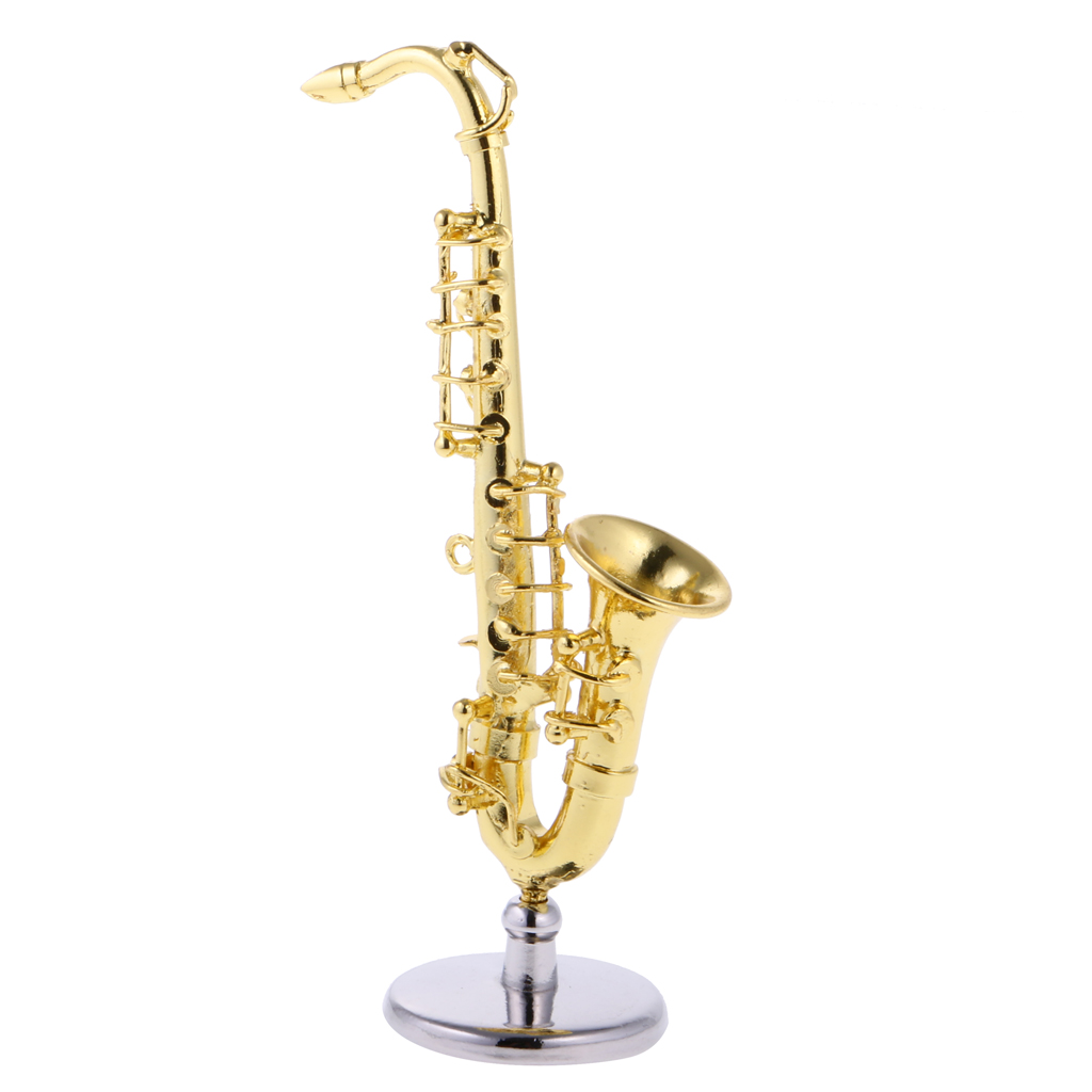 1:12 Trumpet Miniature Musical Instrument w// Case Stand Goldtone Gift Dollhouse