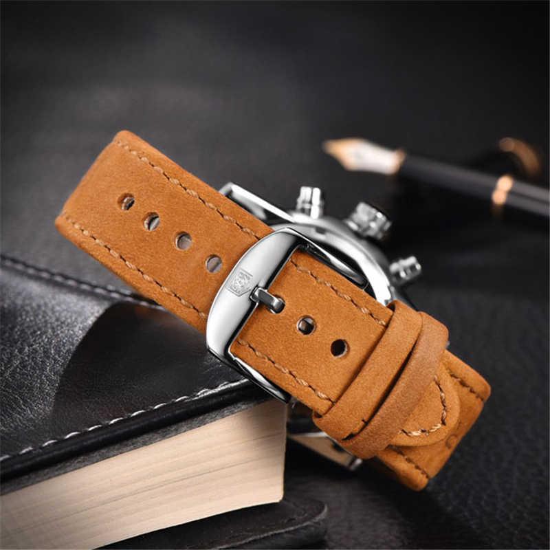 BENYAR แบรนด์กีฬาผู้ชายนาฬิกาแบรนด์หรูชายหนังกันน้ำ Chronograph Quartz นาฬิกาข้อมือทหารนาฬิกาผู้ชาย saat
