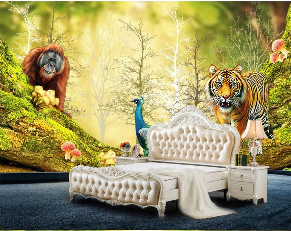 Custom Size 3D Photo Wallpaper Living Room Mural Animals And Woods Forest Painting Eco-Friendly Non-Woven Wallpaper For Wall 3D book knowledge power channel creative 3d large mural wallpaper 3d bedroom living room tv backdrop painting wallpaper