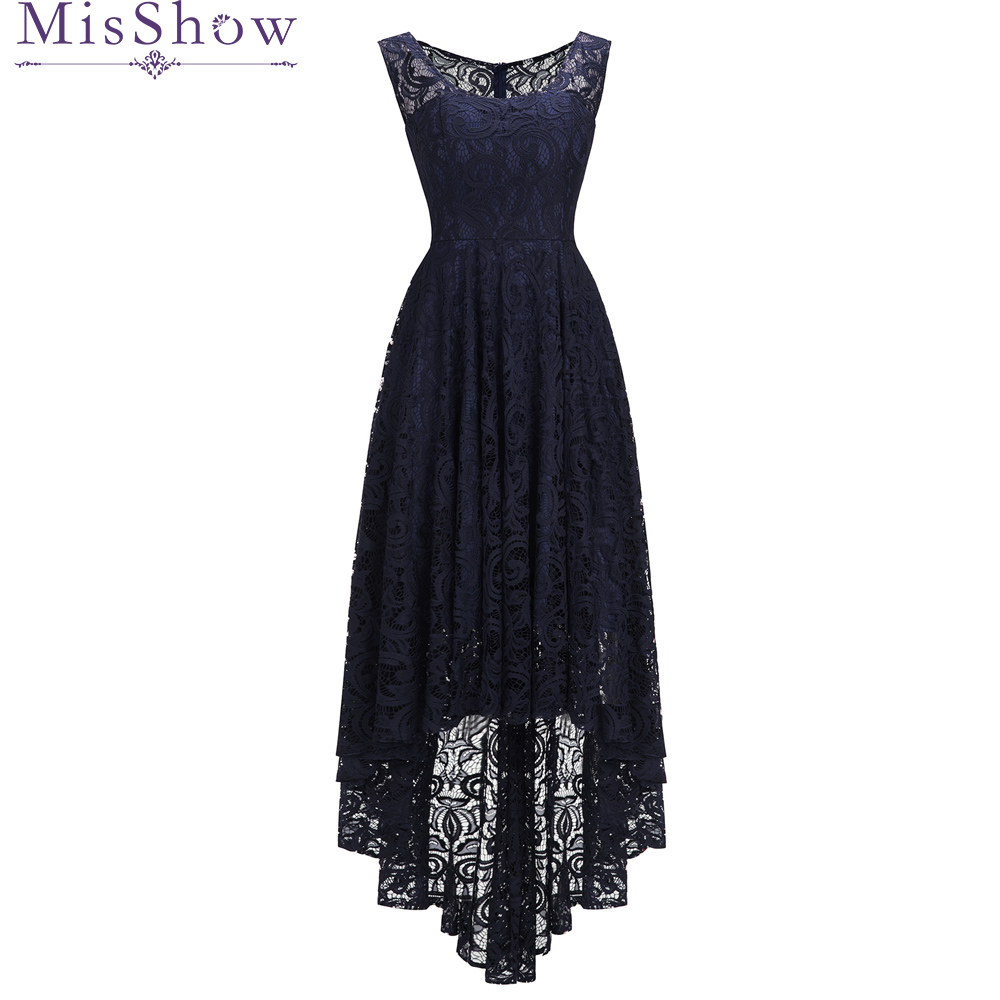 2019 Women Sexy Lace Navy Blue Long Back Short Front Evening Dresses plus size Sleeveless Casual