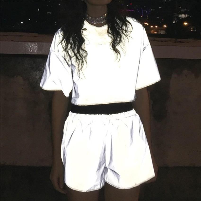 Jessie Vinson Fashion Women Reflective Short Pants Female Jogger Shorts Shiny Hip Pop Fluorescent Short Sport Trousers Club Wear