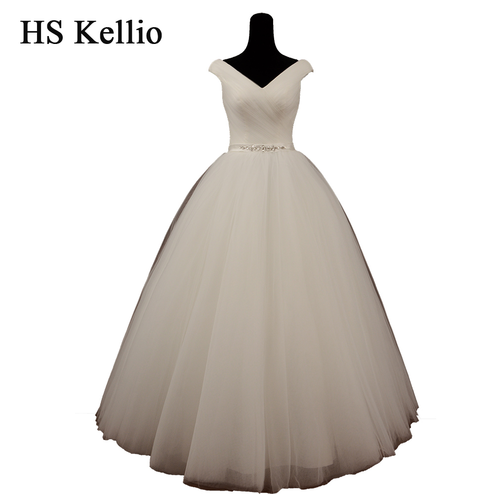 HS Kellio Wedding Dresses Ball Gown Style 2019 Vneck Pleated Bodice Summer Bridal Dress Novias With Sash
