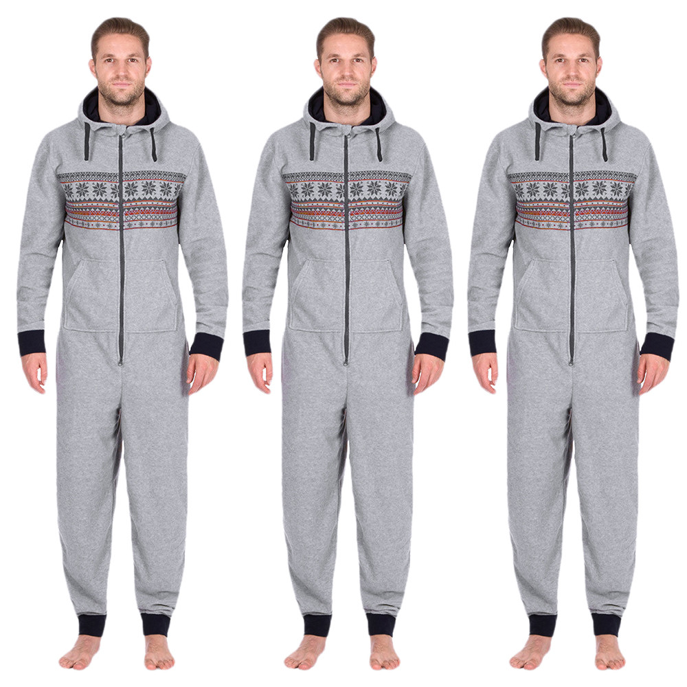 Fashion Casual Mens jumpsuits All In One Hooded Long Sleeve Pockets Trousers Snow Print  ...