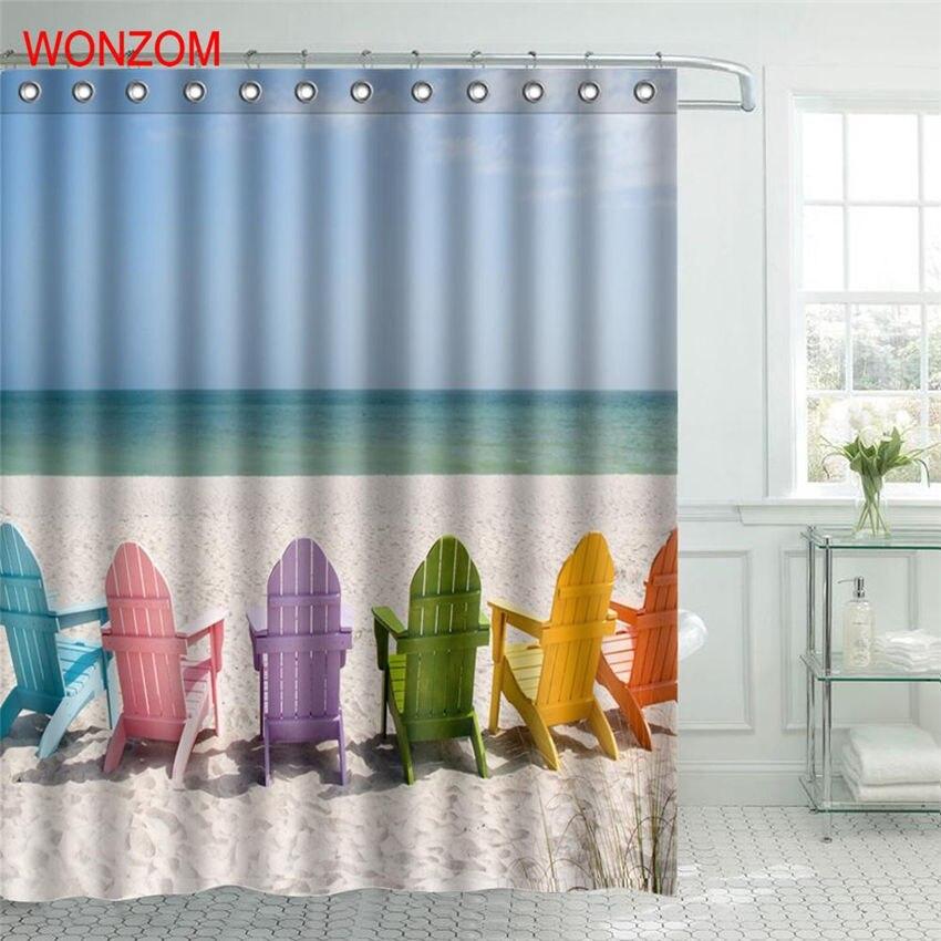 WONZOM Beach Sand Shower Curtain Fabric Bathroom Decor Chair Decoration Cortina De Bano Polyester Sea Bath With Hooks