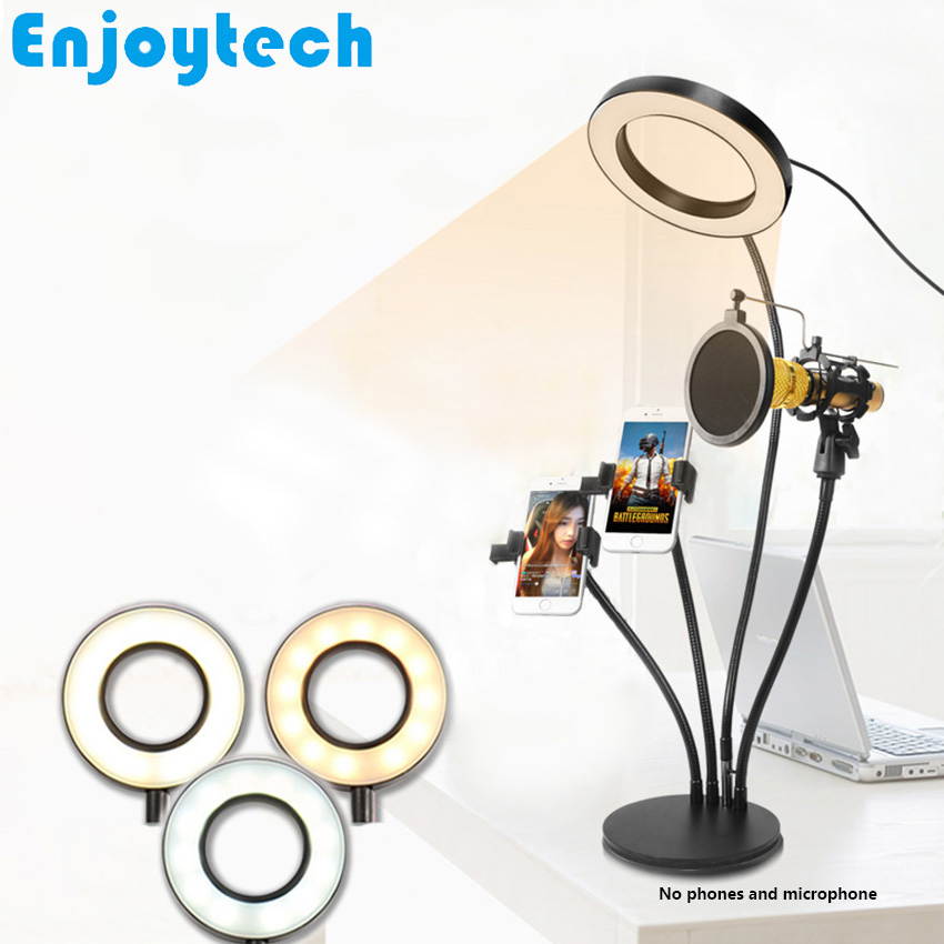 4 in 1 Multi function Stands with 16cm LED Ring Flash Light Mounts Holder for Microphones Tripod for Mobile Phone Video Bloggers