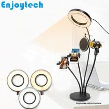 4 in 1 Multi funktion Steht mit 16cm LED Ring Flash Licht Halterungen Halter für Mikrofone Stativ für handy Video Blogger