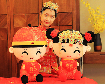 Large # A pair # best gift # home wedding ROOM Festive Cartoon the bride and the bridegroom Mascot propitious doll ornament