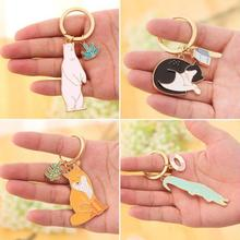 Cute Animal Keychain Lovely Dog Cat Bear Fox Key Chain Fashion Pet Jewelry Accessories Keyrings For Women Men C4