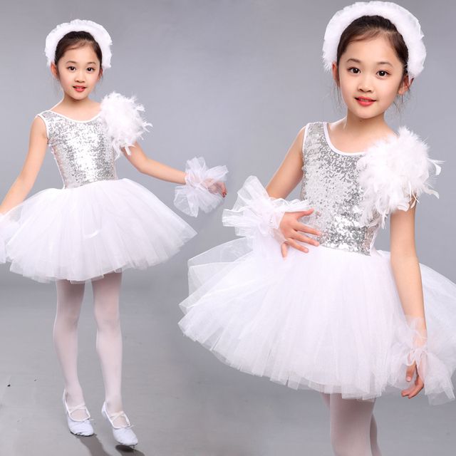 0643746fb Kids Sequined White Swan Lake Ballet Dance Costumes Professional ...
