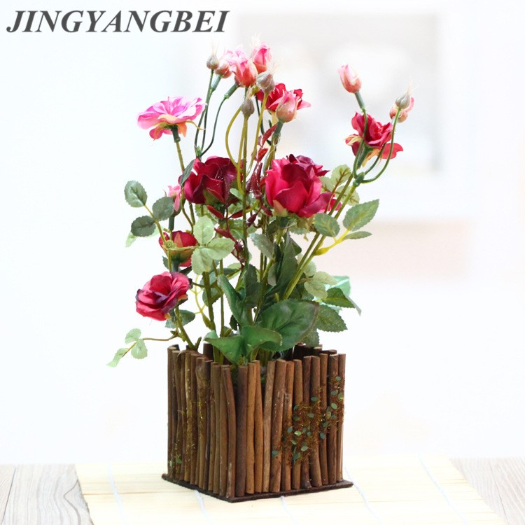 Wooden fence bonsai Artificial rose flowers with vase set  potted fake Flower  desktop plants home decoration fake rose flowers