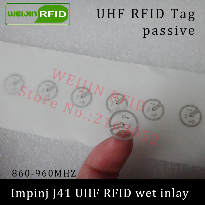 UHF RFID tag sticker Impinj J41 wet inlay 915mhz 900 868mhz 860-960MHZ EPCC1G2 6C smart adhesive passive RFID tags label uhf rfid tag sticker alien 9654 wet inlay 915mhz 900 868mhz 860 960mhz higgs3 epcc1g2 6c smart adhesive passive rfid tags label