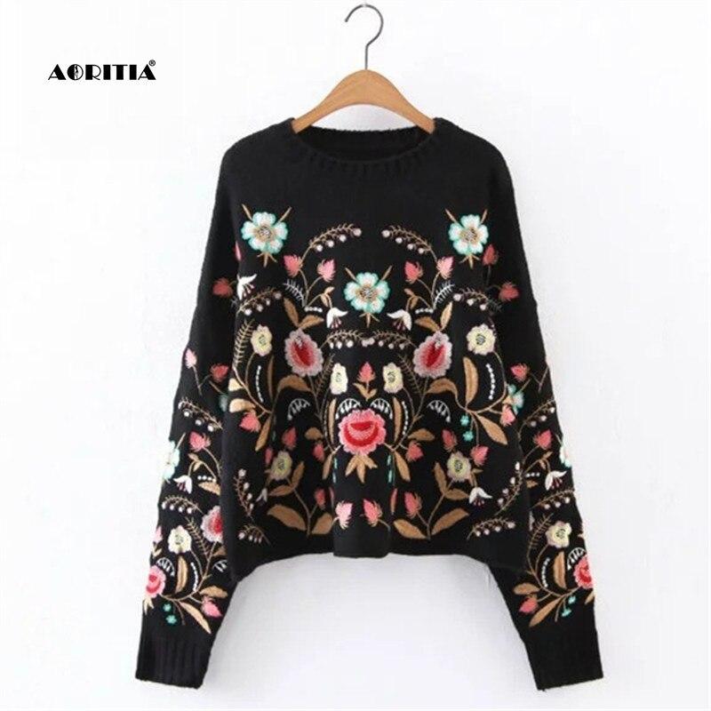 2018 осень зима для женщин свитер Мода Цветочный Вышивка пуловер уличная свитеры для