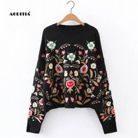 2018 Autumn Winter Women Sweater Fashion Floral Embroidery Pullover Streetwear Sweaters