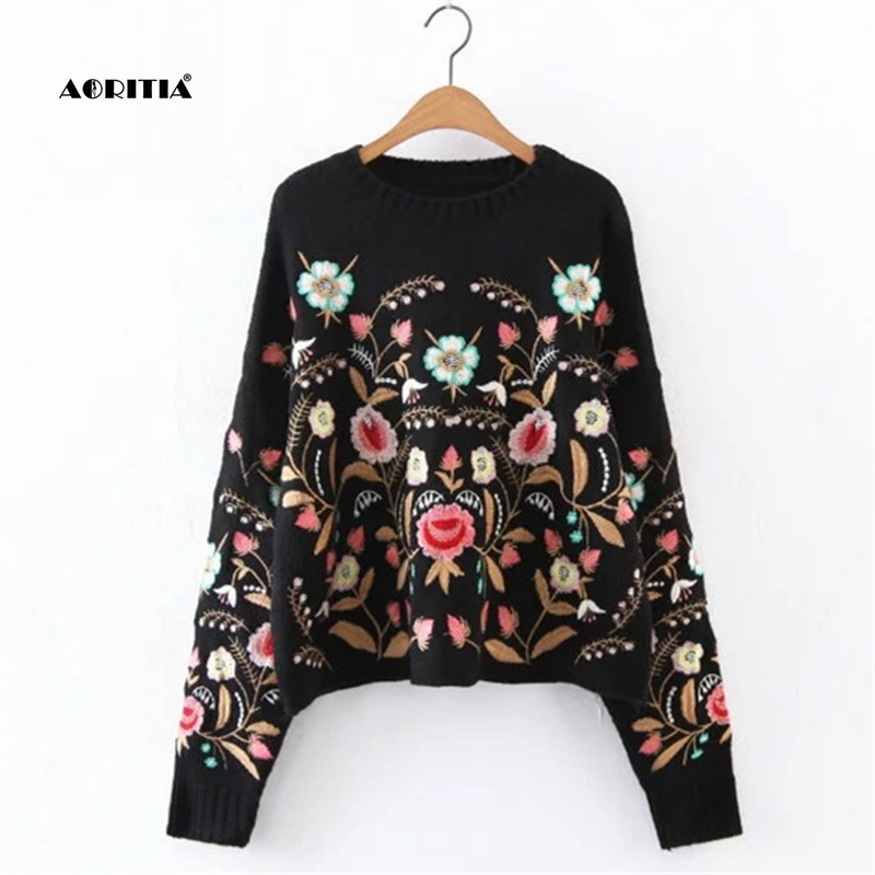 2019 Autumn Winter Ladies Sweater Style Floral Embroidery Pullover Streetwear Sweaters