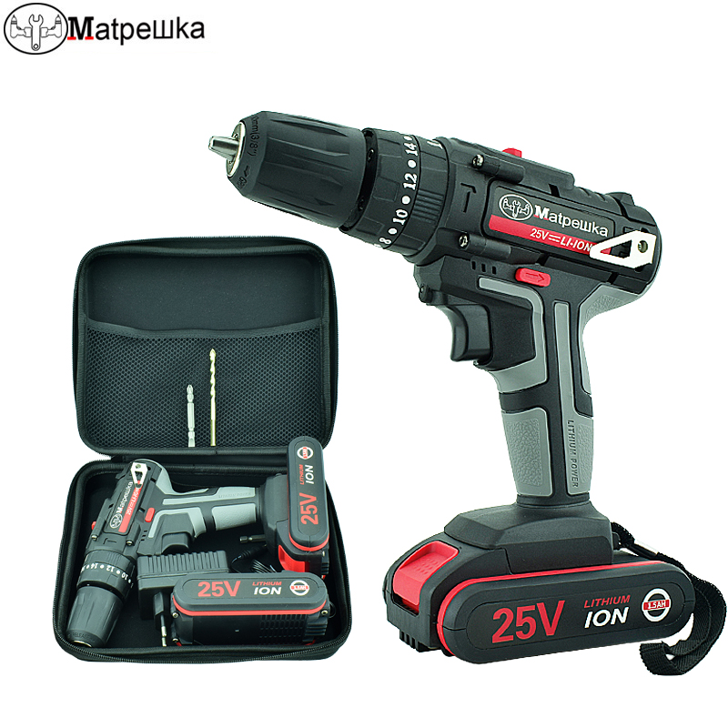 High Quality 25V Electric Drill Impact Drill Electric Screwdriver Hand-held Cordless Rechargeable Li-ion Battery Power Tool+Gift